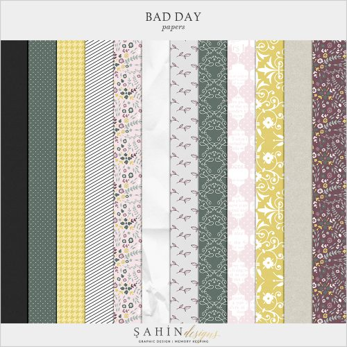 Bad Day Digital Scrapbook Papers by Sahin Designs. Click to download the kit. Pin & save for later!