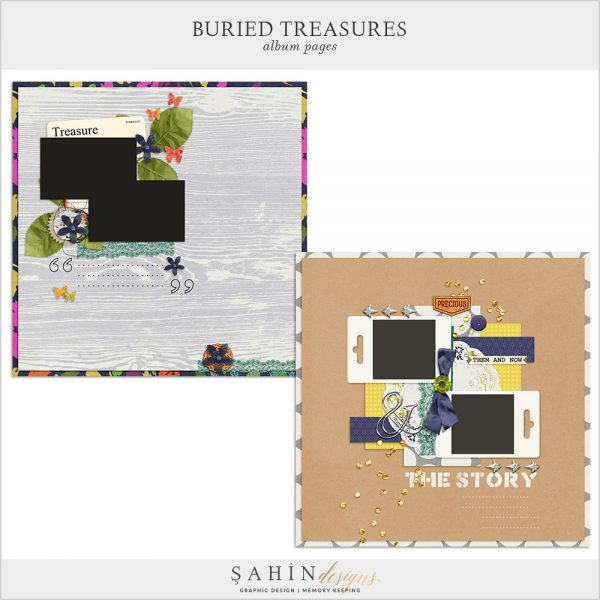 Buried Treasures Digital Scrapbook Album Pages by Sahin Designs. Click to download the kit. Pin & save for later!