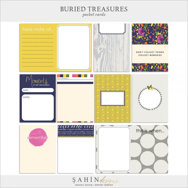 Buried Treasures Digital Scrapbook Pocket Cards by Sahin Designs. Click to download the kit. Pin & save for later!