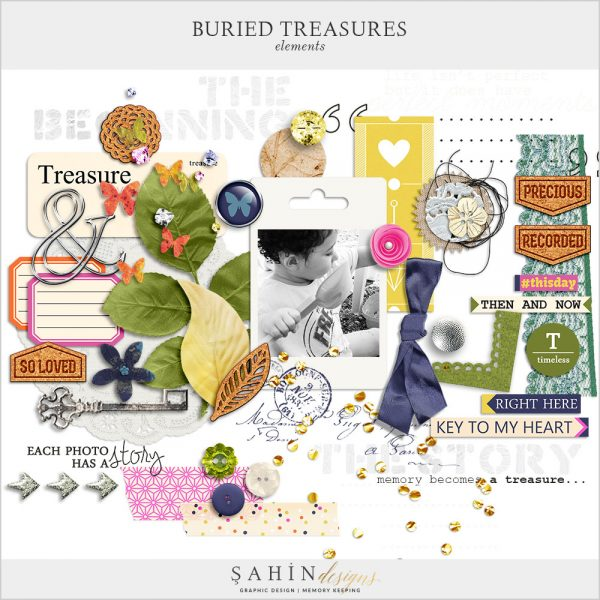 Buried Treasures Digital Scrapbook Elements by Sahin Designs. Click to download the kit. Pin & save for later!
