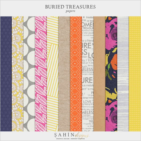 Buried Treasures Digital Scrapbook Papers by Sahin Designs. Click to download the kit. Pin & save for later!