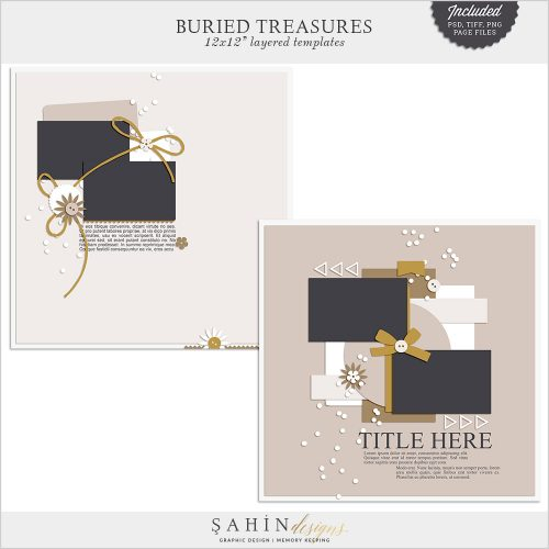 Buried Treasures Digital Scrapbook Layout Templates/Sketches by Sahin Designs. Click to download the kit. Pin & save for later!