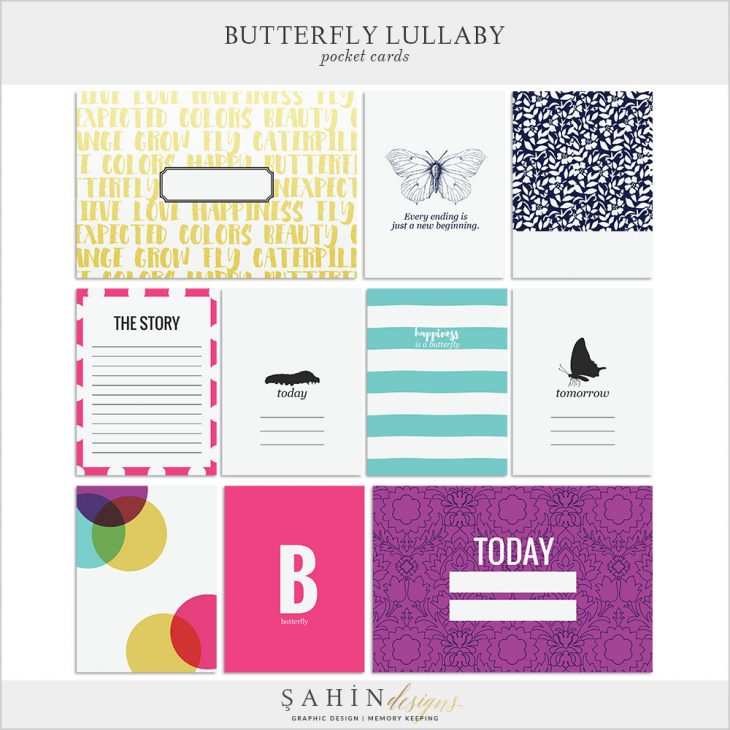 Butterfly Lullaby Digital Scrapbook Pocket Cards by Sahin Designs. Click to download the kit. Pin & save for later!
