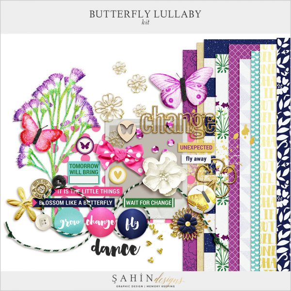 Butterfly Lullaby Digital Scrapbook Kit by Sahin Designs. Click to download the kit. Pin & save for later!