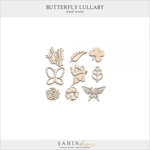 Butterfly Lullaby Digital Scrapbook Wood Embellishments by Sahin Designs. Click to download the kit. Pin & save for later!
