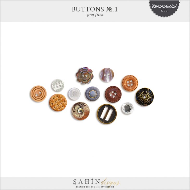 Buttons No.1 by Sahin Designs. Commercial Use Digital Scrapbook Supplies. Click to download the kit. Pin & save for later!