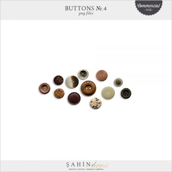 Buttons No.4 by Sahin Designs. Commercial Use Digital Scrapbook Supplies. Click to download the kit. Pin & save for later!
