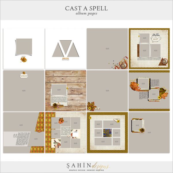 Cast A Spell Digital Scrapbook Album Pages by Sahin Designs. Click to download the kit. Pin & save for later!
