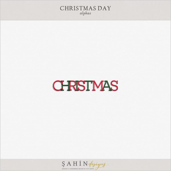 Christmas Digital Scrapbook Alpha by Sahin Designs. Click to download the kit. Pin & save for later!