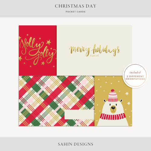 Christmas Day Printable Pocket Cards - Sahin Designs