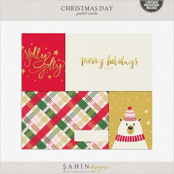 Christmas Digital Scrapbook Pocket Cards by Sahin Designs. Click to download the kit. Pin & save for later!