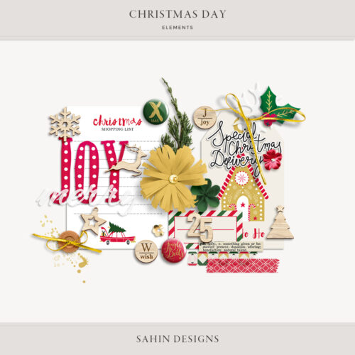 Christmas Day Digital Scrapbook Elements - Sahin Designs