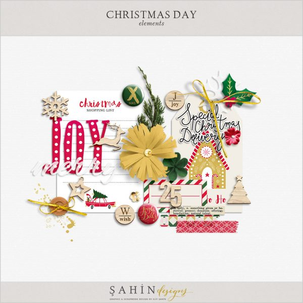 Christmas Digital Scrapbook Elements by Sahin Designs. Click to download the kit. Pin & save for later!