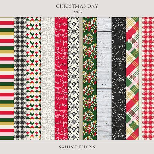 Christmas Day Digital Scrapbook Papers - Sahin Designs
