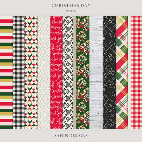 Christmas Day Digital Scrapbook Papers - Sahin Designs