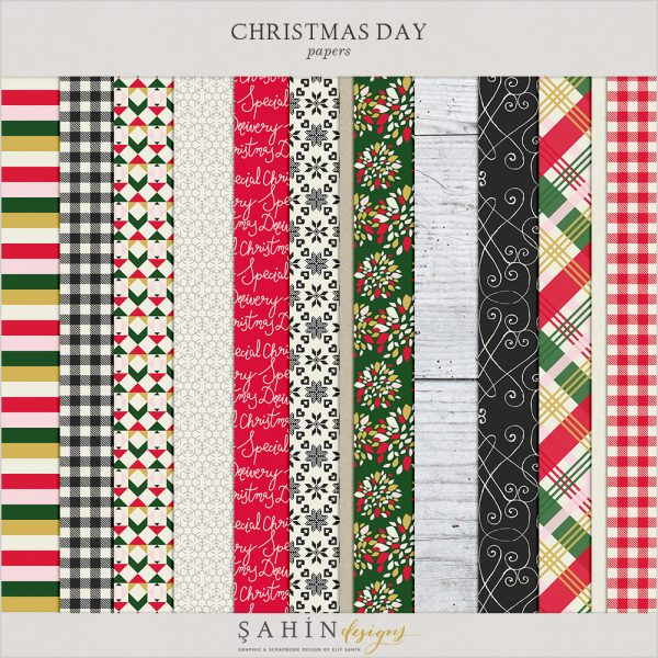 Christmas Digital Scrapbook Papers by Sahin Designs. Click to download the kit. Pin & save for later!