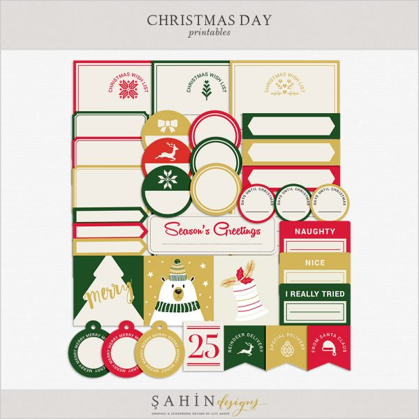 Christmas Digital Scrapbook Printable Labels by Sahin Designs. Click to download the kit. Pin & save for later!