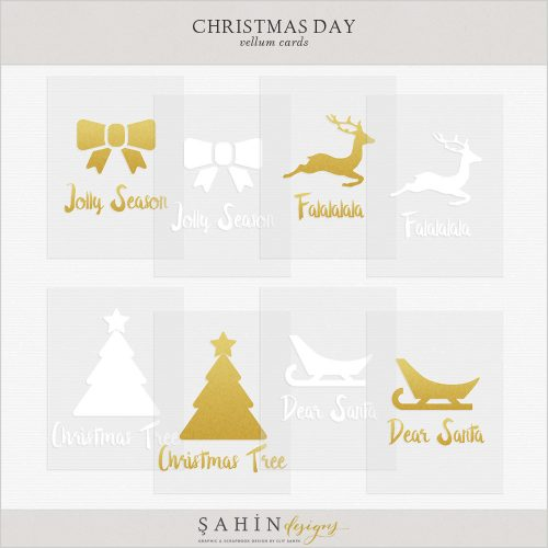 Christmas Digital Scrapbook Vellum Cards by Sahin Designs. Click to download the kit. Pin & save for later!