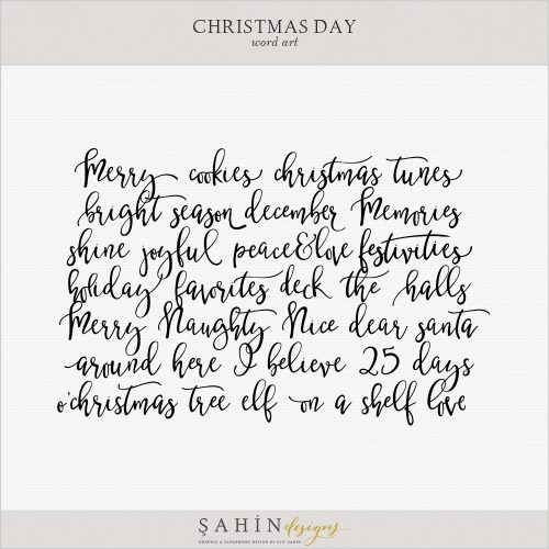 Christmas Digital Scrapbook Word Arts by Sahin Designs. Click to download the kit. Pin & save for later!