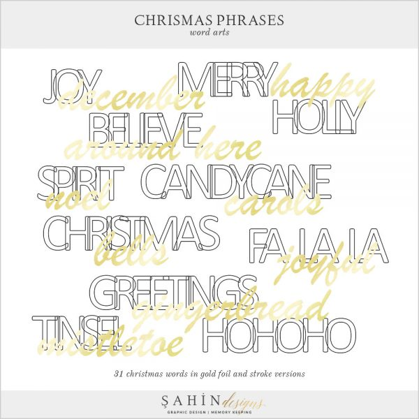 Christmas Phrases Digital Scrapbook Word Arts by Sahin Designs. Click to download the kit. Pin & save for later!