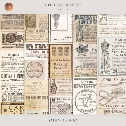 Vintage Collage Sheets by Sahin Designs. Commercial Use Digital Scrapbook Supplies. Click to download the kit. Pin & save for later!