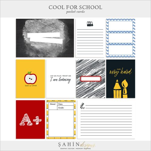 Cool For School Digital Scrapbook Pocket Cards by Sahin Designs. Click to download the kit. Pin & save for later!