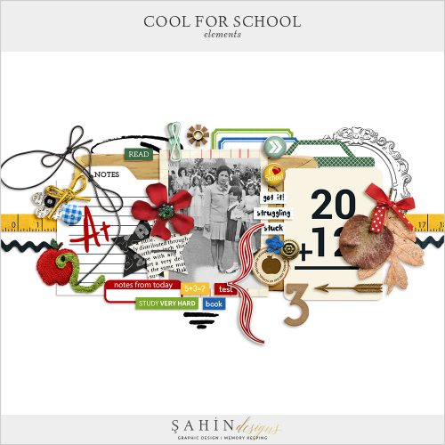 Cool For School Digital Scrapbook Elements by Sahin Designs. Click to download the kit. Pin & save for later!