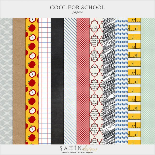 Cool For School Digital Scrapbook Papers by Sahin Designs. Click to download the kit. Pin & save for later!
