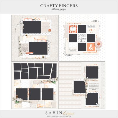 Crafty Fingers Digital Scrapbook Album Pages by Sahin Designs. Click to download the kit. Pin & save for later!