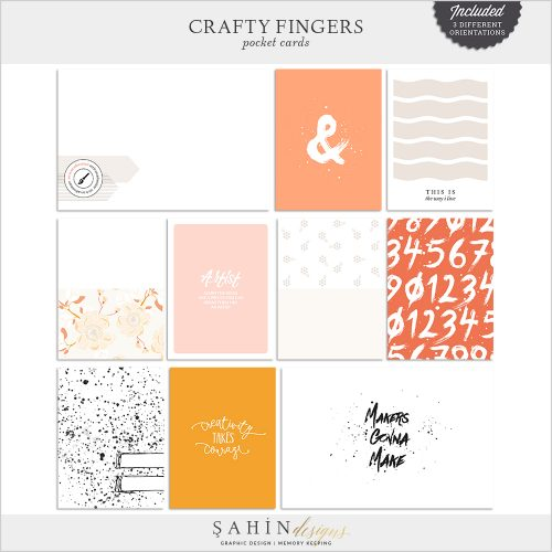 Crafty Fingers Digital Scrapbook Pocket Cards by Sahin Designs. Click to download the kit. Pin & save for later!