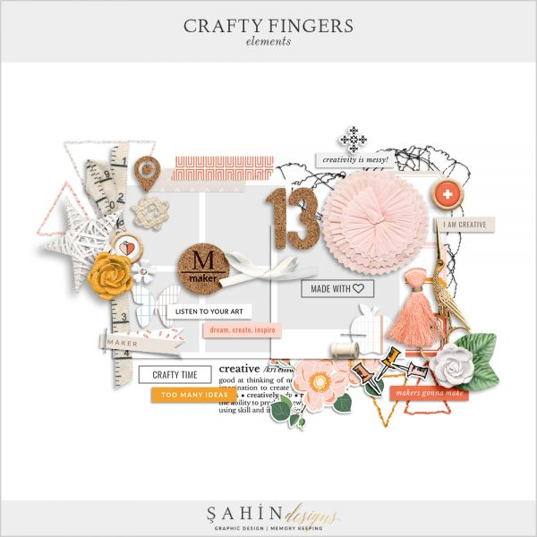 Crafty Fingers Digital Scrapbook Elements by Sahin Designs. Click to download the kit. Pin & save for later!
