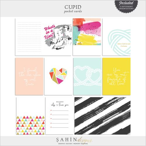 Cupid Digital Scrapbook Pocket Cards by Sahin Designs. Click to download the kit. Pin & save for later!