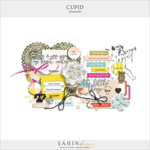 Cupid Digital Scrapbook Elements by Sahin Designs. Click to download the kit. Pin & save for later!