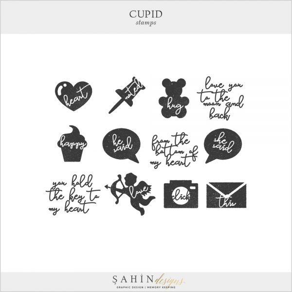 Cupid Digital Scrapbook Stamps by Sahin Designs. Click to download the kit. Pin & save for later!
