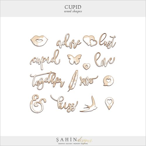 Cupid Digital Scrapbook Wood Shapes by Sahin Designs. Click to download the kit. Pin & save for later!