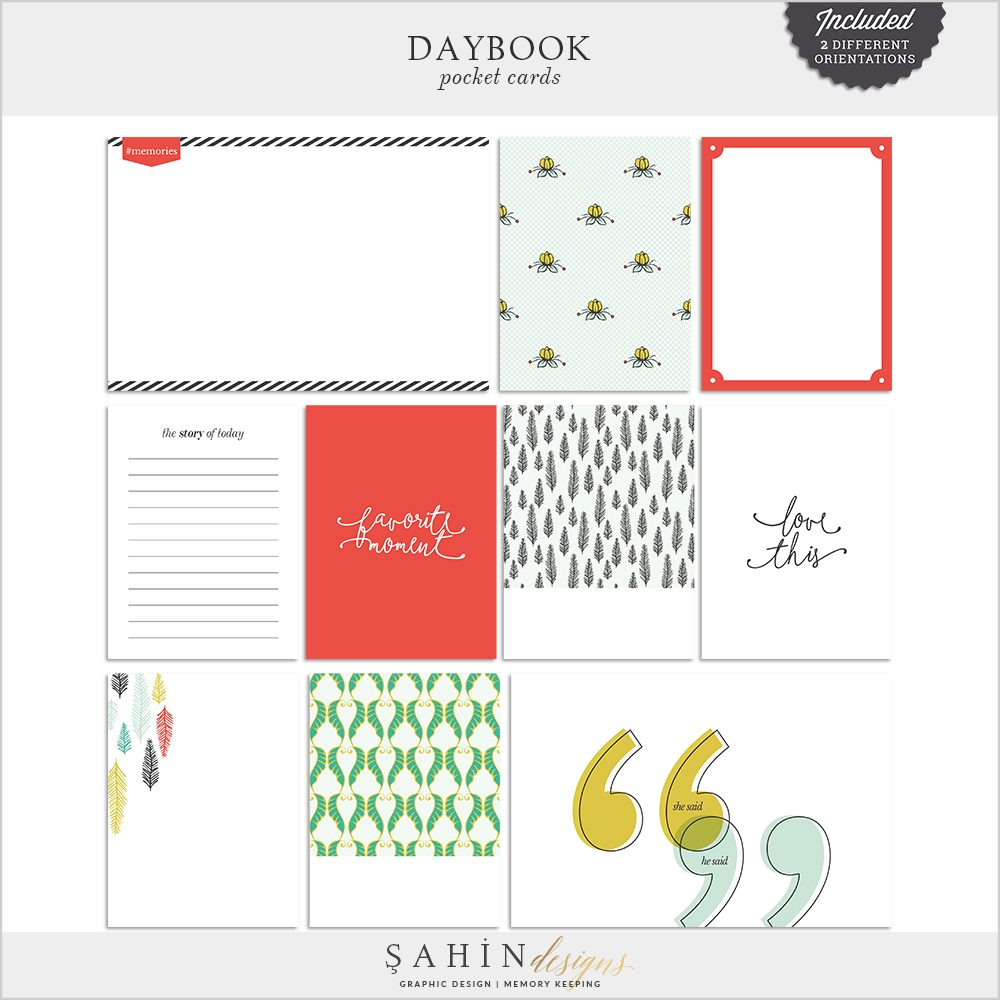 Daybook Digital Scrapbook Pocket Cards by Sahin Designs. Click to download the kit. Pin & save for later!