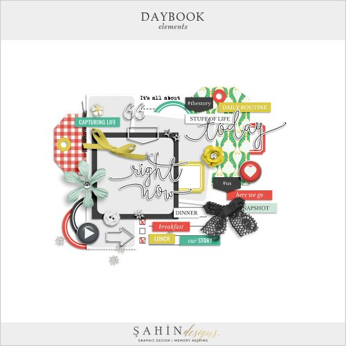 Daybook Digital Scrapbook Elements by Sahin Designs. Click to download the kit. Pin & save for later!