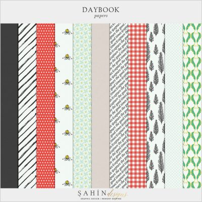 Daybook Digital Scrapbook Papers by Sahin Designs. Click to download the kit. Pin & save for later!