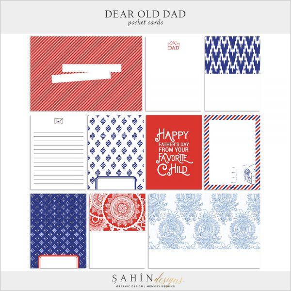 Dear Old Dad Digital Scrapbook Pocket Cards by Sahin Designs. Click to download the kit. Pin & save for later!