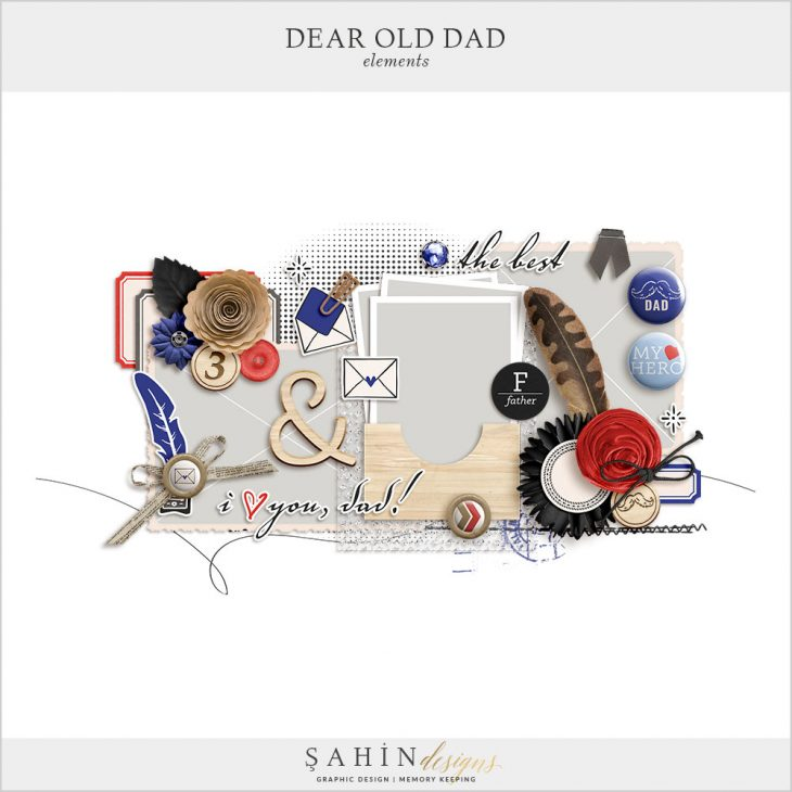 Dear Old Dad Digital Scrapbook Elements by Sahin Designs. Click to download the kit. Pin & save for later!