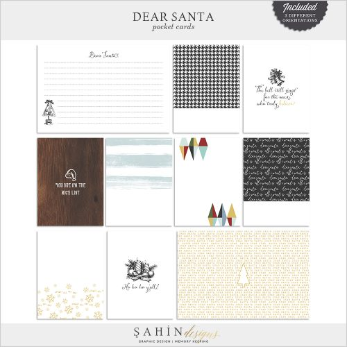 Dear Santa - Christmas Digital Scrapbook Pocket Cards - Sahin Designs