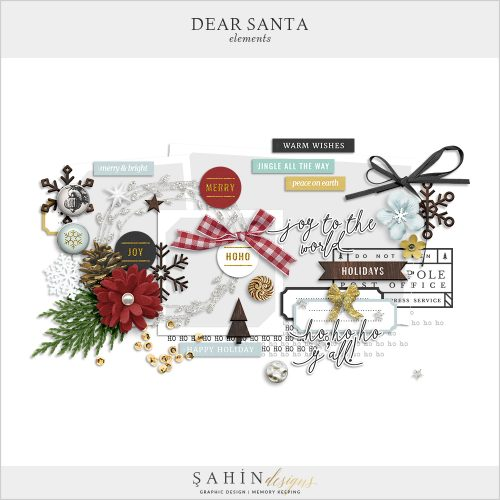 Dear Santa - Christmas Digital Scrapbook Elements Pack - Sahin Designs