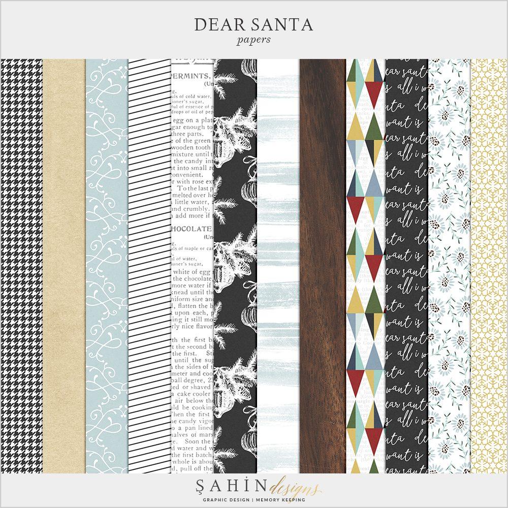 Dear Santa - Christmas Digital Scrapbook Papers Pack - Sahin Designs