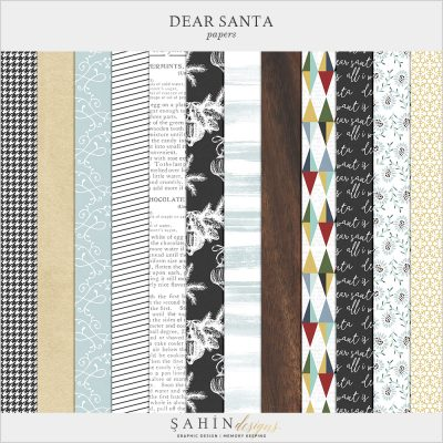 Dear Santa - Christmas Digital Scrapbook Papers Pack - Sahin Designs