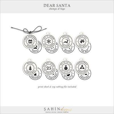 Dear Santa - Christmas Digital Scrapbook Stamps Pack - Sahin Designs