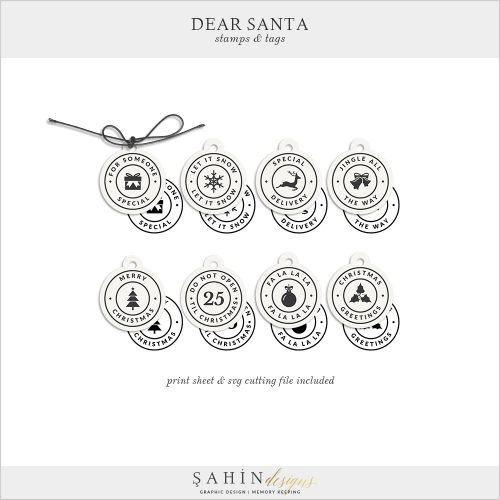 Dear Santa - Christmas Digital Scrapbook Stamps Pack - Sahin Designs