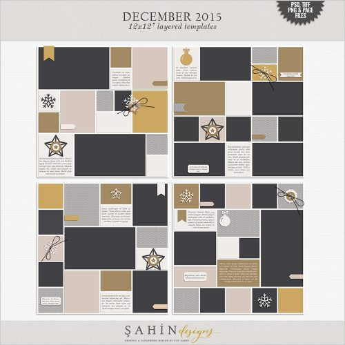 December 2015 Digital Scrapbook Layout Templates/Sketches by Sahin Designs. Click to download the kit. Pin & save for later!