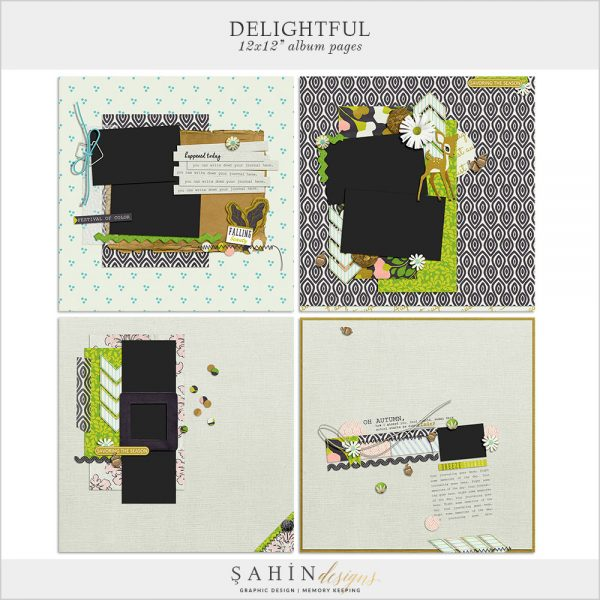 Delightful Digital Scrapbook Album Pages by Sahin Designs. Click to download the kit. Pin & save for later!