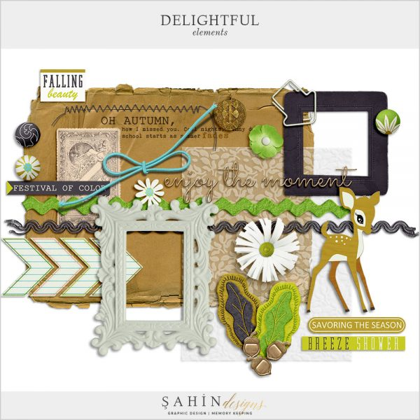 Delightful Digital Scrapbook Elements by Sahin Designs. Click to download the kit. Pin & save for later!
