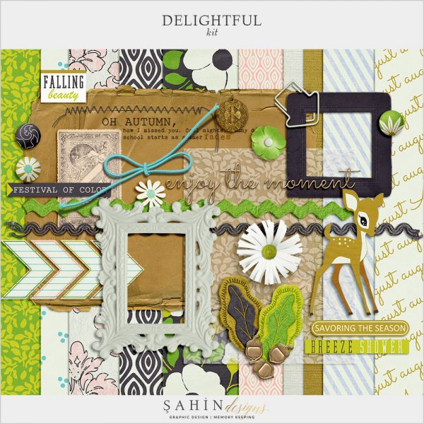 Delightful Digital Scrapbook Kit by Sahin Designs. Click to download the kit. Pin & save for later!